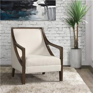 Hopkins Natural Accent Chair with Dark Wood