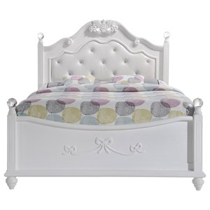 Full Platform Bed with Upholstered Headboard