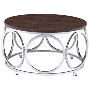 Contemporary Round Coffee Table with Metal Base