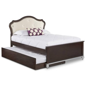 Twin Bed with Glamorous Upholstered Headboard and Trundle