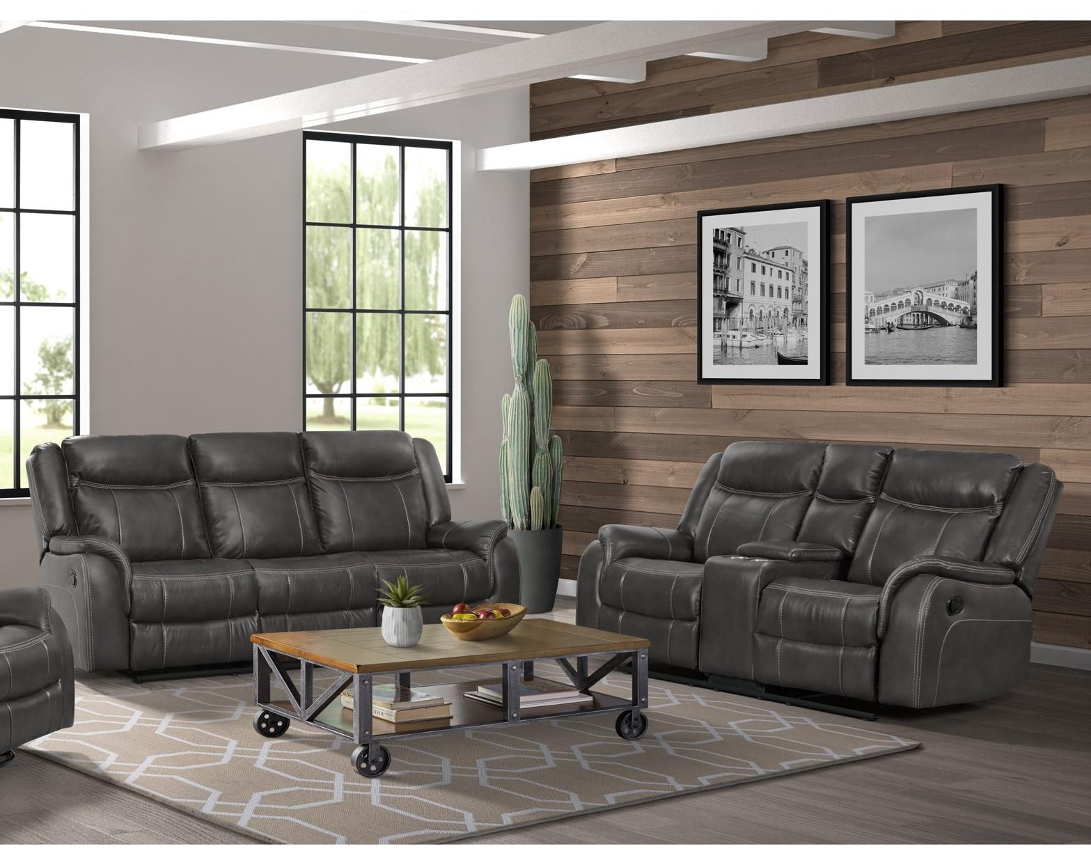 Avalon Motion Sofa and Loveseat with Consoles by Elements International at Smart Buy Furniture