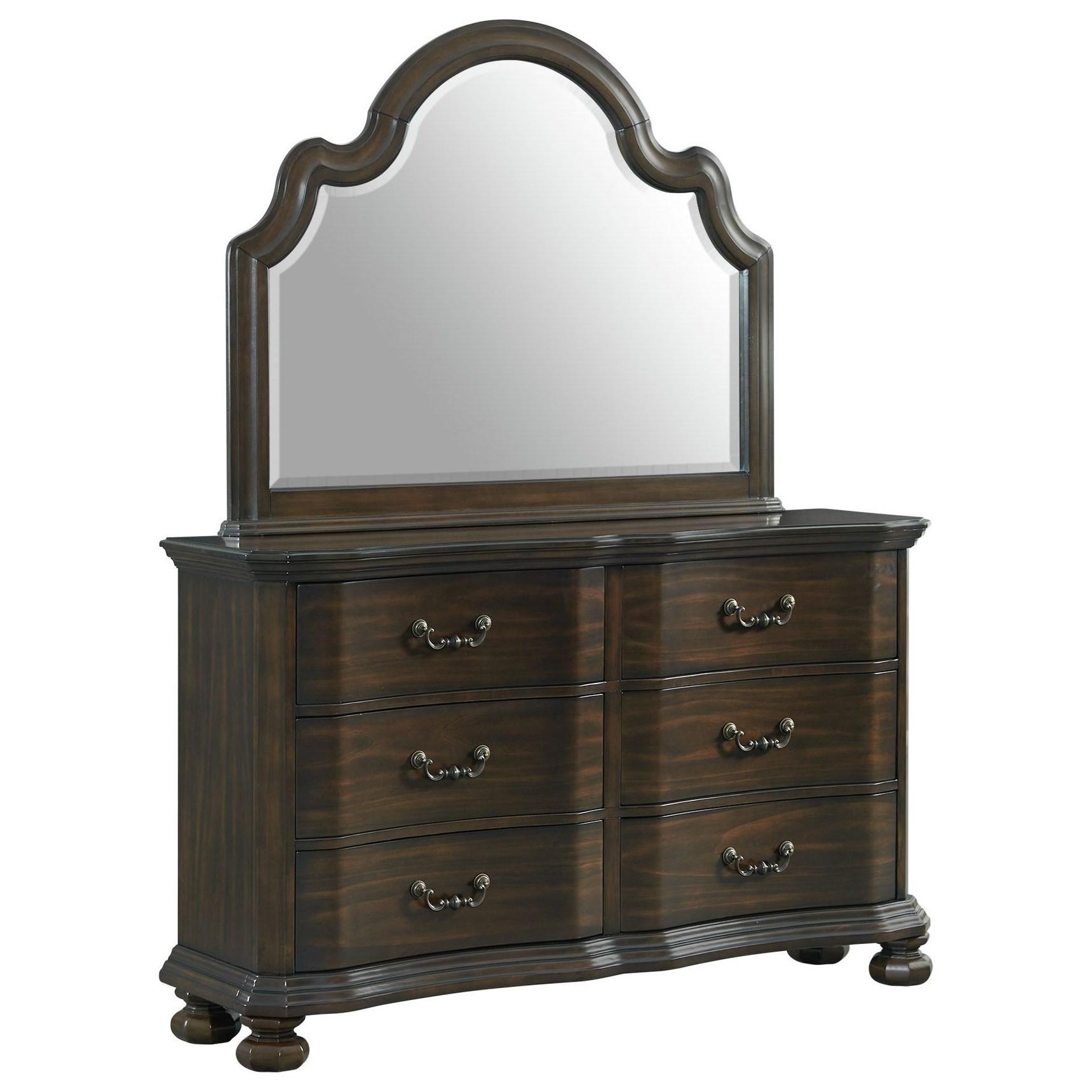 Harper 6-Drawer Dresser with Mirror at Walker's Furniture