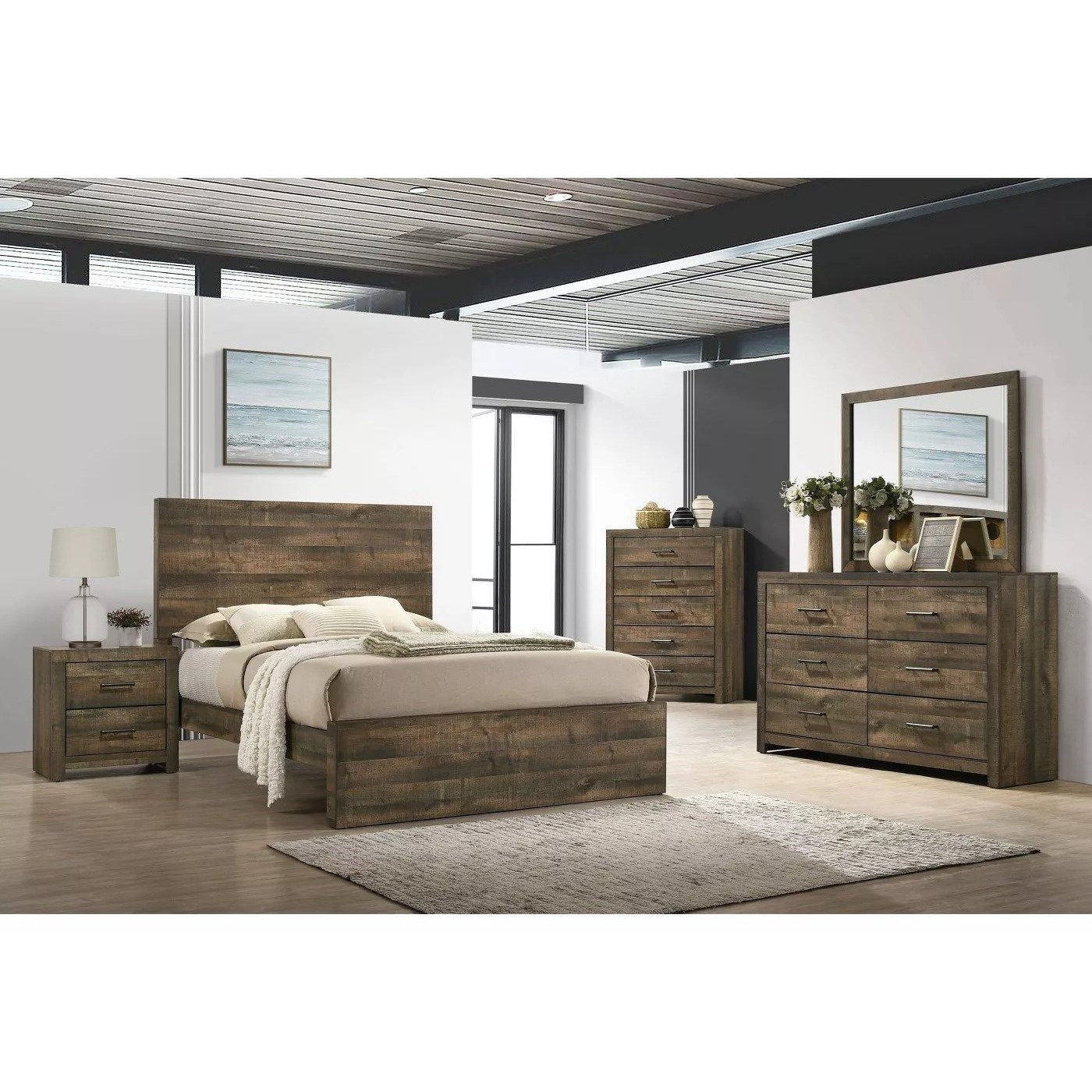 Bailey King Bedroom Group by Elements International at Goffena Furniture & Mattress Center