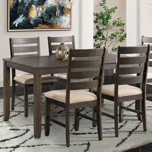 5-Piece Dining Set with Upholstered Ladderback Chairs