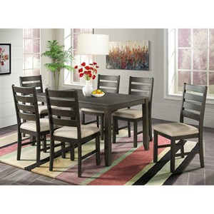 7-Piece Dining Set with Upholstered Ladderback Chairs