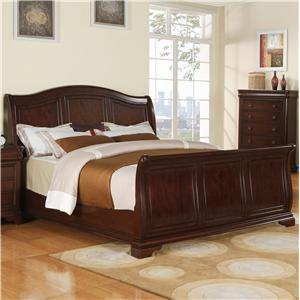 King Transitional Arched Sleigh Bed