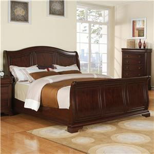 Queen Transitional Arched Sleigh Bed