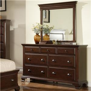 Drawer Dresser with 7 Drawers and Mirror with Solid Pine Framing