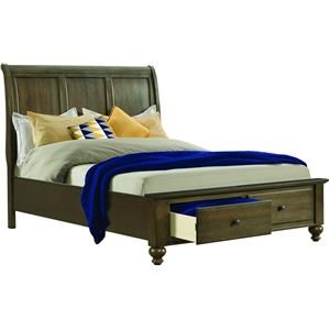 Queen Gray Bed with Storage