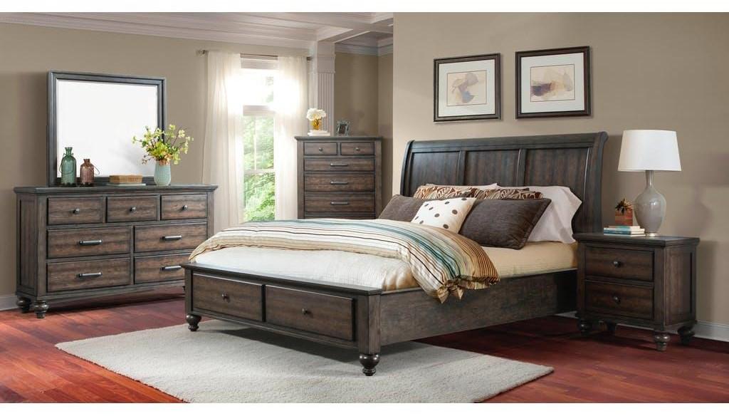 King Gray Storage Bed, Dresser, Mirror & Nightstand