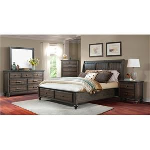 King Gray Storage Bed, Dresser, Mirror & Nightstand