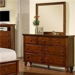 Transitional Dresser & Landscape Mirror Set