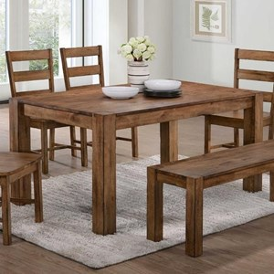 Rustic Dining Table with Block Legs