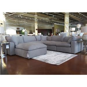 Grey Modular Five Piece Sectional (ottoman sold separately)