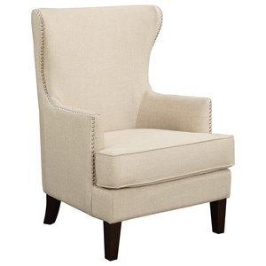 Transitional Accent Arm Chair with Nailhead Trim