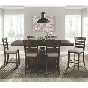 Counter Height Dining Table & 6 Counter Chair Set