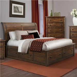 Queen Sleigh Storage Bed with Drawer Knobs