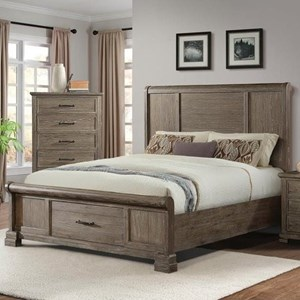 Transitional Queen Headboard and Footboard Bed