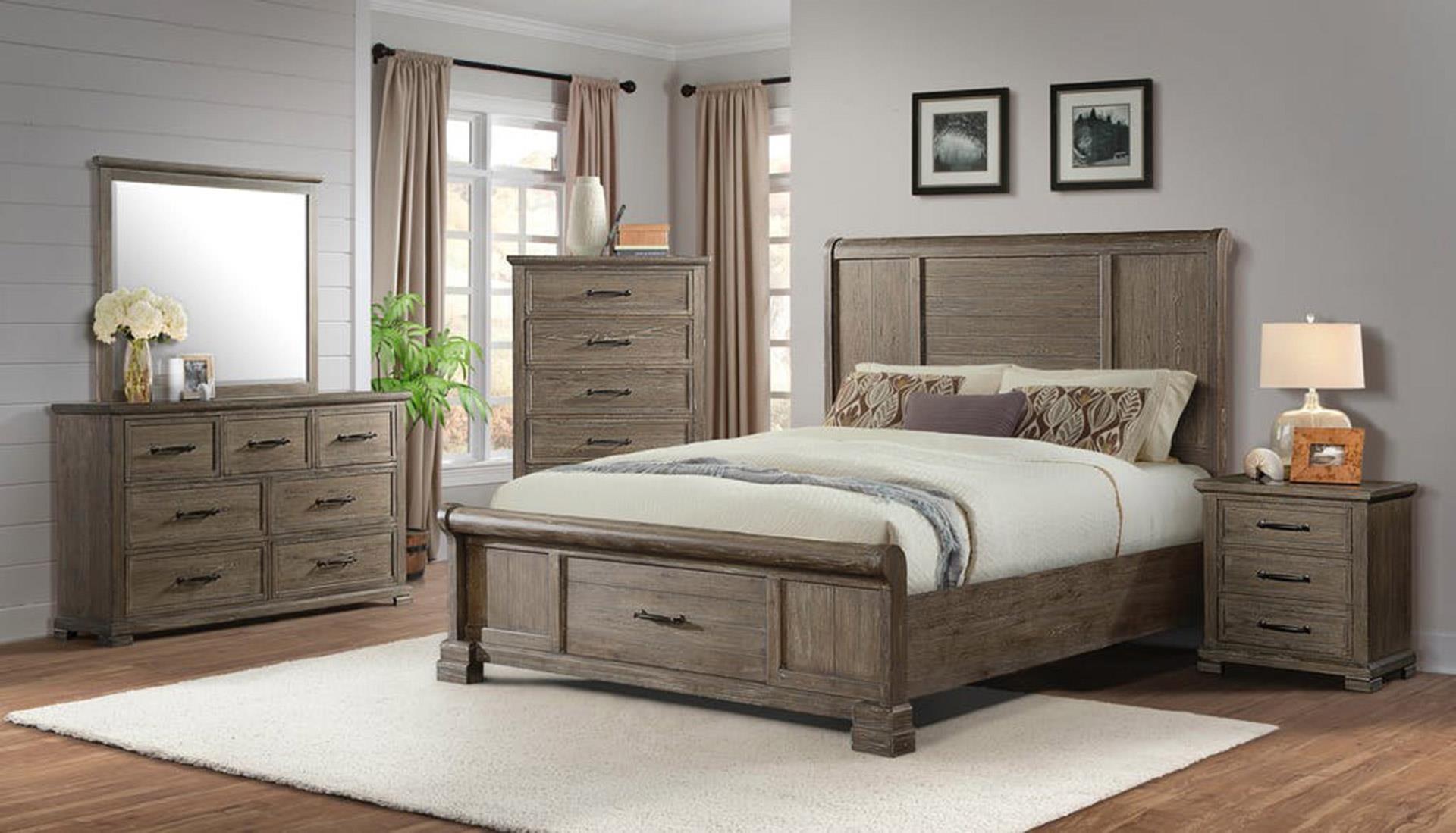 King Storage Bed, Dresser, Mirror, and Nightstand