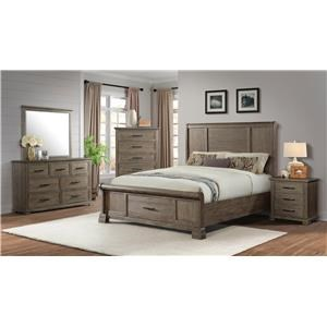 Queen Storage Bed, Dresser, Mirror, and Nightstand