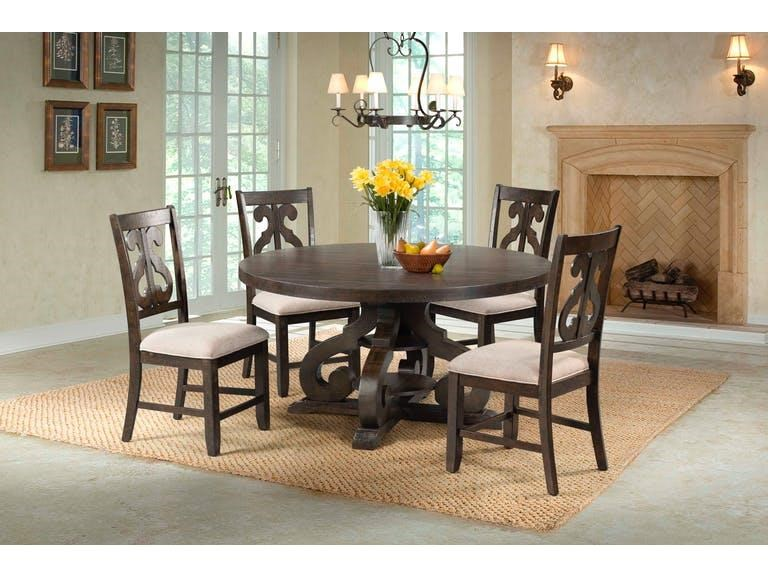 Round Pedestal Table & 4 Swirl Back Side Chairs