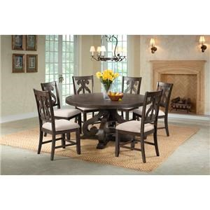Round Pedestal Table & 6 Swirl Back Side Chairs