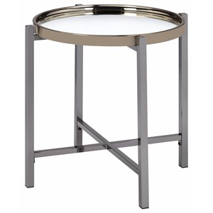 Contemporary Round End Table with Glass Top