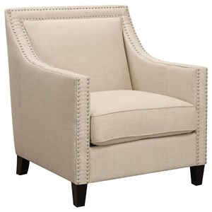 Transitional Accent Chair with Chrome Nails