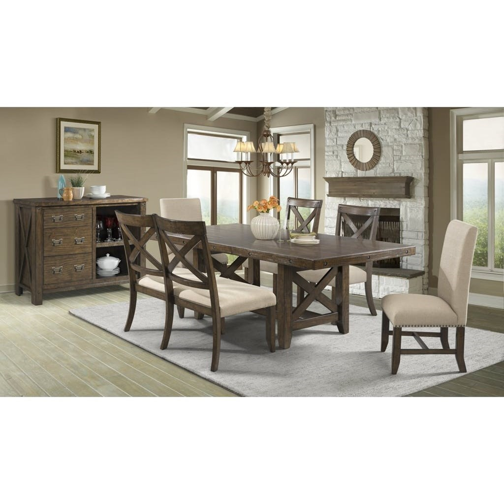 Franklin Table Set with Dining Bench by Elements International at Wilcox Furniture
