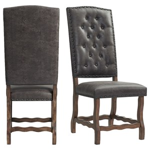 Tufted Tall Back Side Chair with Nailhead Trim