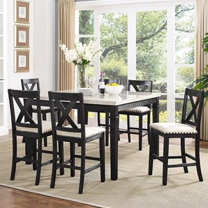 Counter Height Dining Set with X-Back Stools