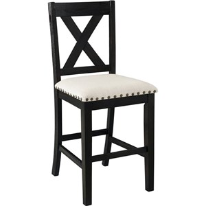 X-Back Stool with Upholstered Seat
