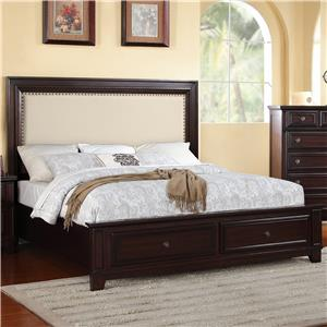 King Upholstered Low Profile Storage Bed
