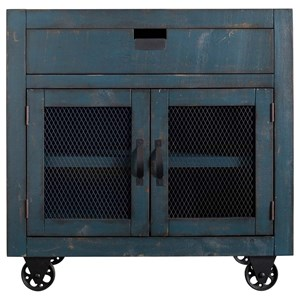 Industrial 2-Door Accent Chest with Casters