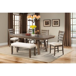 Rustic Dining Set with X-Back Chairs