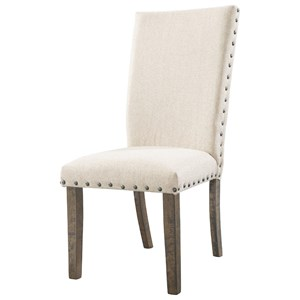 Rustic Upholstered Side Chair with Nailhead Trim