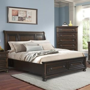 Sleigh Queen Bed with Footboard Storage