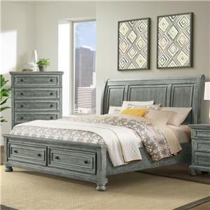 Sleigh King Bed with Footboard Drawers