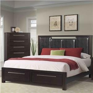 Queen Low Profile Bed with Upholstered Headboard and Storage Footboard