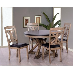 Rustic Round Table and Chair Set