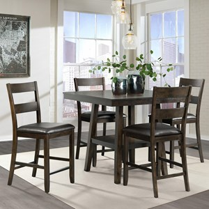 Rustic 5 Piece Counter Height Dining Set with Shelf in Table