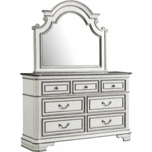 Ornate Dresser and Mirror Set