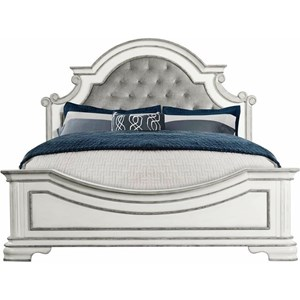 Glamorous Queen Bed with Upholstered Headboard