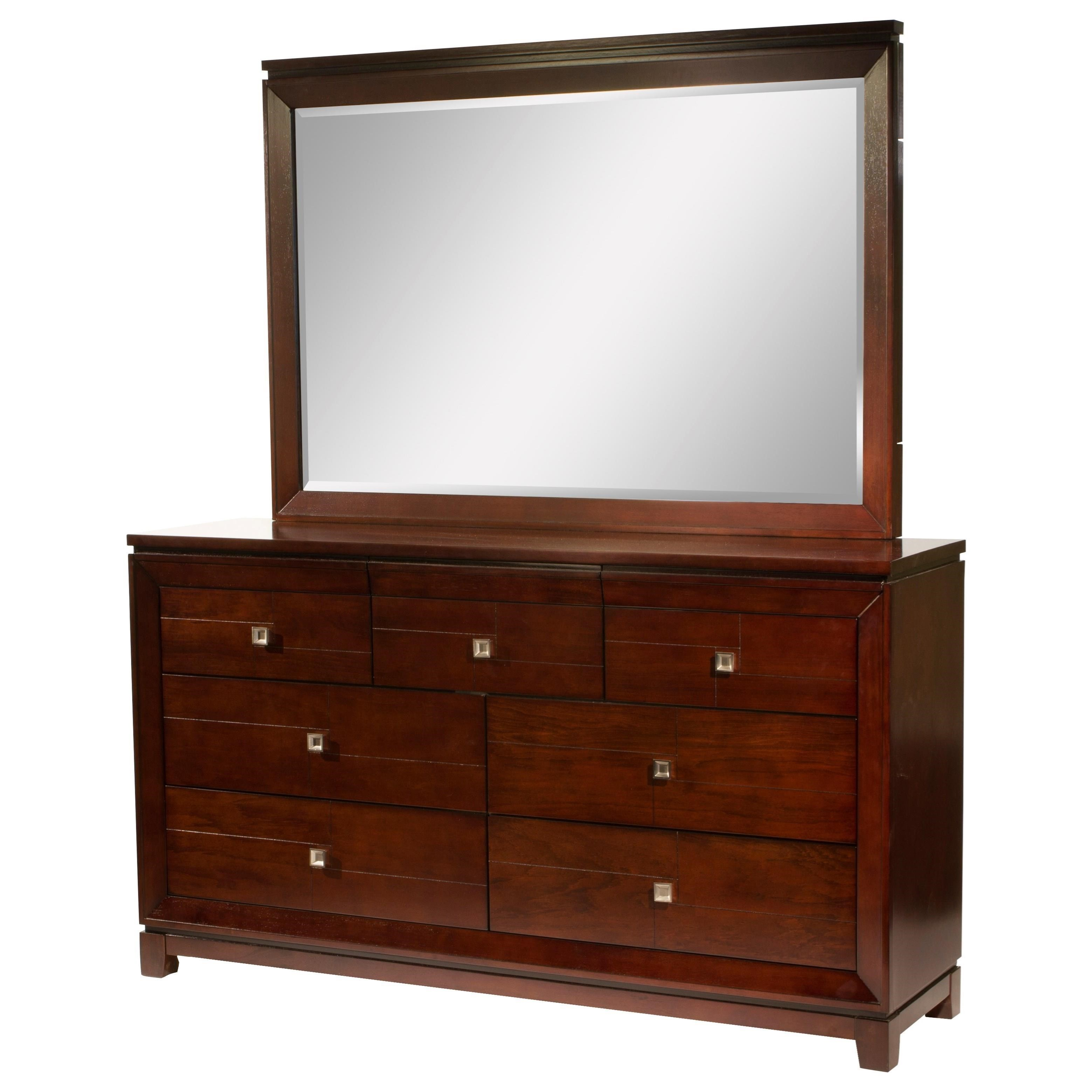 London 7-Drawer Dresser & Mirror Set by Elements International at Wilcox Furniture