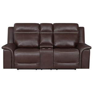 Contemporary Leather Motion Console Loveseat