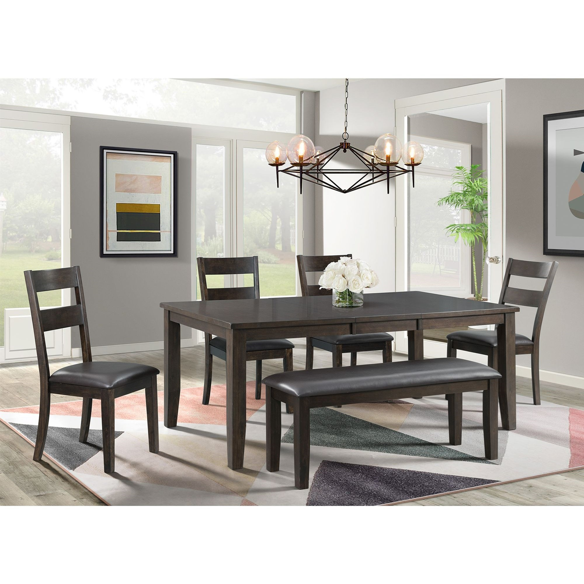 Mango Table and Chair Set with Bench by Elements International at Dream Home Interiors