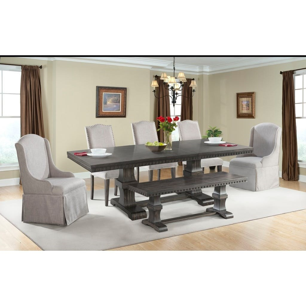 Morrison Table Set with Dining Bench by Elements International at Wilcox Furniture
