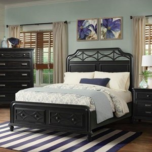 Coastal King Bed with Footboard Storage Drawers