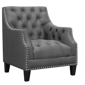 Transitional Accent Chair with Nailhead Trim and Button Tufting