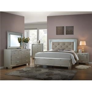Queen Bed with Mood Lighting, Dresser, Mirror & Nightstand